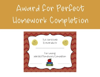 Perfect Homework Award Perfect Homework Award