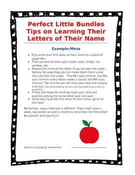 Perfect Little Bundles Name Letter Recognition