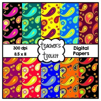 Perfect Paisley Digital Background Papers {8.5 x 11} Clip