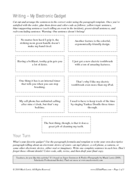 Perfect Paragraph Writing activity and prompt
