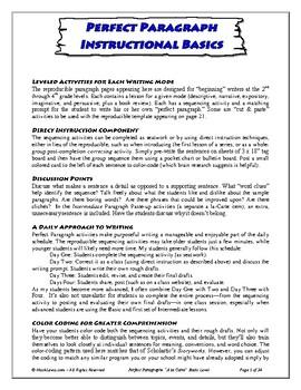Perfect Paragraphs Writing Program -- Level One: Beginner