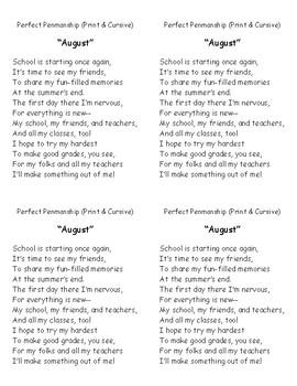 Perfect Penmanship Poem