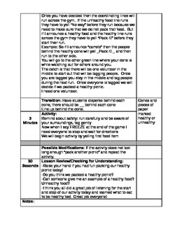 Perfect Picnic Physical Activity Lesson