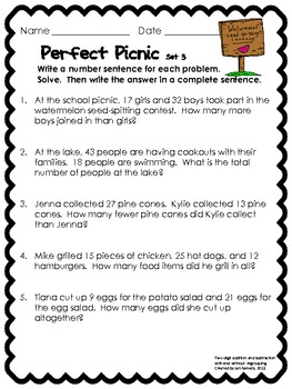 Perfect Picnic Story Problems