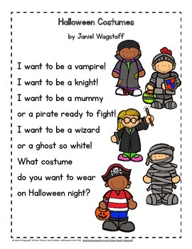 Perfect Poems for Halloween, October and Fall with Language Arts Task Cards K-3
