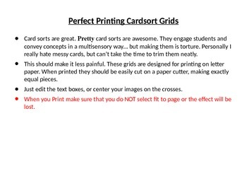Perfect Printing Cardsort Grids