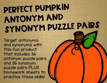 Perfect Pumpkin Antonym and Synonym Puzzle Pairs