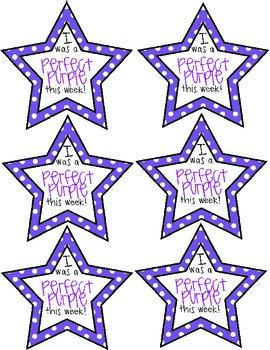 Perfect Purple Stars for Behavior Clip Chart Reward