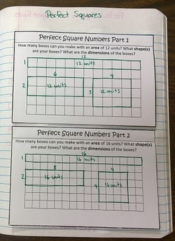 Perfect Square Numbers and Square Roots Foldable Notes SOL(2016) 8.3a