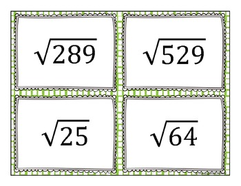 Perfect Square Root Task Cards