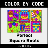 Perfect Square Roots - Color by Code / Coloring Pages - Birthday