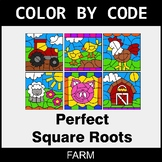 Perfect Square Roots - Color by Code / Coloring Pages - Farm