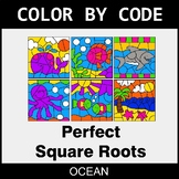 Perfect Square Roots - Color by Code / Coloring Pages - Ocean