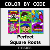Perfect Square Roots - Color by Code / Coloring Pages - Pirates