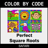 Perfect Square Roots - Color by Code / Coloring Pages - Safari