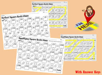 Perfect Square Roots & Simplifying Square Roots Mazes