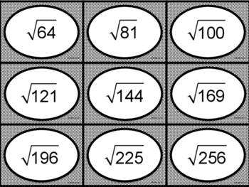 Perfect Square and Square Root Flashcards