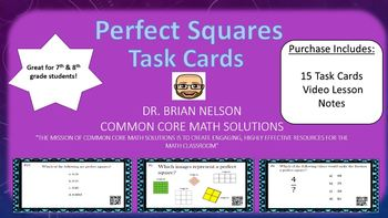 Perfect Squares - (15 Task Cards & Interactive Video Lesson)