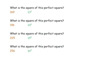 Perfect Squares (8.EE.A.2) Exit Cards