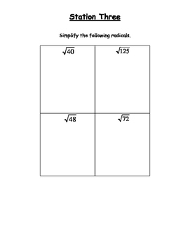 Perfect Squares, Cubes and Radicals - Stations