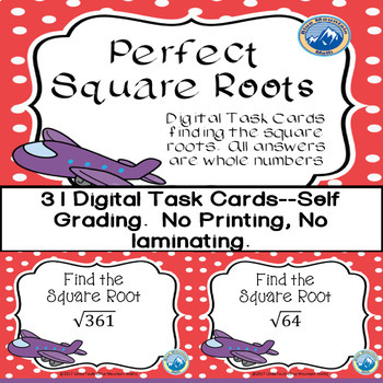 Perfect Squares Digital Task Cards/Boom Cards