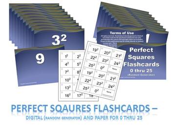 Perfect Squares Flashcards (0-25) Digital PPT & Paper - Middle School Math