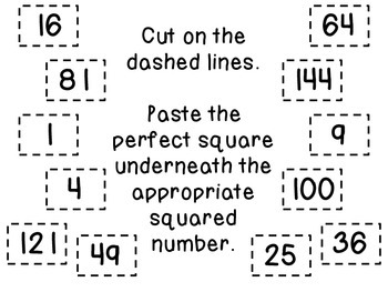 Perfect Squares Foldable
