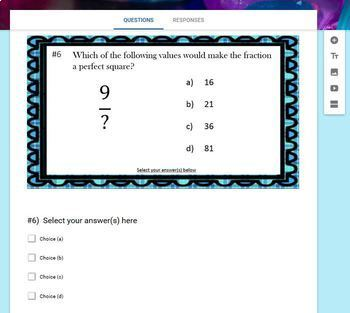 Perfect Squares  (Google Form, Interactive Video Lesson & Notes!)