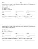 Perfect Squares Homework or Classwork