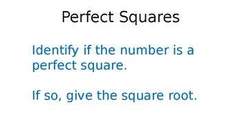 Perfect Squares Identifying Quick Flash
