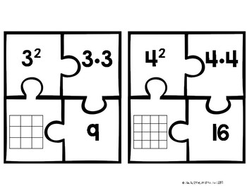 Perfect Squares Math Station Puzzle Activity