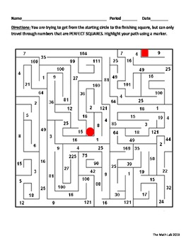 Perfect Squares Maze Activity