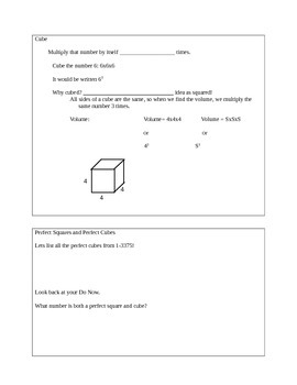 Perfect Squares, Perfect Cubes, Square Roots and Cube Roots