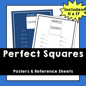 Perfect Squares - Posters and Fill-In Sheet