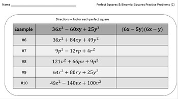 Perfect Squares (Practice Problems – 3 different difficulty levels!)