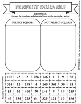 Perfect Squares SORT FOR SUCCESS Sorting Activity