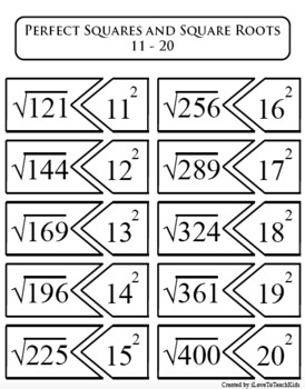 Perfect Squares & Square Roots 1-20 Student Activity Center Math Concept Game