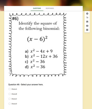 Perfect Squares & Squares of Binomials (Google Form, Video Lesson & Notes!)
