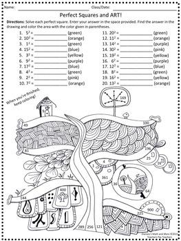 8th Grade Math Perfect Squares and Art Worksheet
