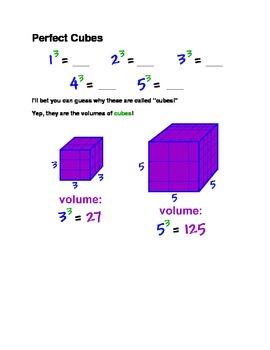 Perfect Squares and Cubes Worksheet - Introduction to Exponents