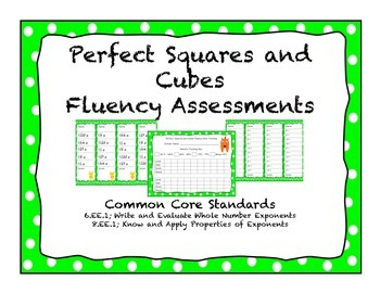 Perfect Squares and Cubes Fluency Assessment and Tracker