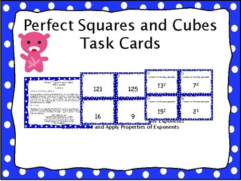 Perfect Squares and Cubes Task Cards