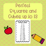 Perfect Squares and Cubes up to 13