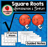 Perfect Squares and Square Roots Lesson Practice Mazes