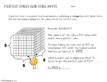 Perfect Cubes and Cube Roots Lesson Practice Mazes