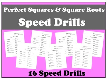 Perfect Squares and Square Roots Speed Quizzes Bundle