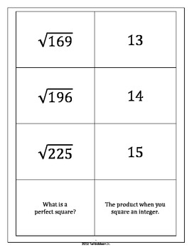 Perfect Squares/Square Root Practice Pack