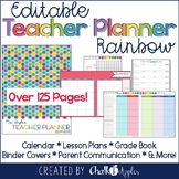 Editable Rainbow Teacher Planner
