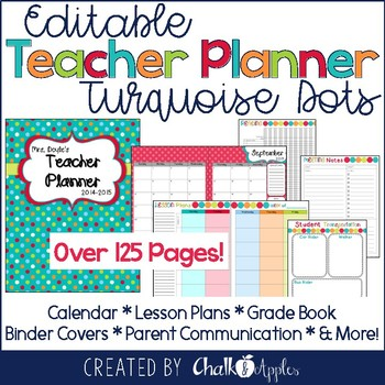 editable teacher planner turquoise dots by chalk and apples tpt