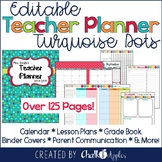 Editable Teacher Planner - Turquoise Dots